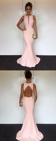 Pearl Pink Mermaid Round Neck Open Back Long Prom Dress with Sweep Train, M172 #Pink #Mermaid #Promdresses