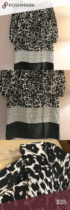 Zara Black and White Patterned Dress EUC!!! Unique and cool black and white patterned dress from Zara. Looks great alone, with tights or boots! Super versatile piece. Zara Dresses