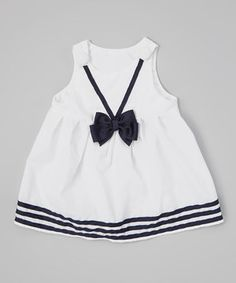 This White & Navy Bow Janie Mae Jumper - Infant & Toddler by Caught Ya Lookin' is perfect! #zulilyfinds