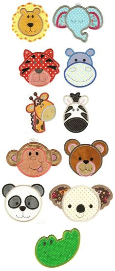 Embroidery | Free Machine Embroidery Designs | Cute Animal Faces Applique Set 2
