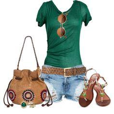 LOLO Moda: #green #tank #summer #spring #2014 #jeans #short #bag, http://www.lolomoda.com