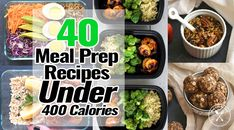 40 Meal Prep Recipes Under 400 Calories - Meal Prep on Fleek™ These 40 Meal Prep Recipes Under 400 Calories are full of delicious and healthy ingredients. You will be enjoying foods that you crave in an easy & fast way 400 Calorie Dinner, 400 Calorie Meals, No Calorie Foods, Low Calorie Recipes, Healthy Recipes, Healthy Breakfasts, Healthy Foods, Easy Recipes, Keto Recipes