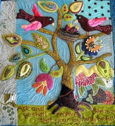 Sue Spargo Contemporary Folk | Wool Folk Art Quilt Wallhanging Pattern | sue spargo