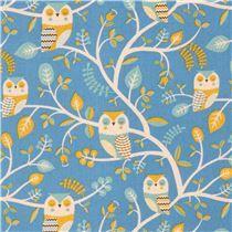 blue cute natural color mustard yellow owl animal Canvas fabric Kokka Japan