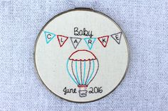 Hot Air Balloon Baby Announcement Hand Embroidered Hoop Art. Hand Stitched 6 Inch Nursery Decor. Bunting. Banner. New Baby. Made to Order.