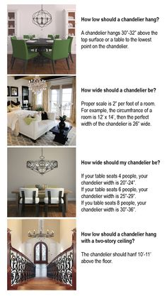 How to hang a chandelier - general tips.  Ultimately it needs to suit the room in terms of size, scale, and placement.