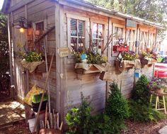 Margot Bernier's potting shed:) Garden Pots, Garden Sheds, Shed With Porch, Outdoor Buildings, Garden Nursery, Cold Frame, Shed Homes, Potting Sheds, Greenhouse Gardening