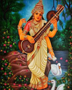 We boast an exhaustive collection of Hindu Gods & Goddess Paintings. ExoticIndia is the largest online store for Indian Art. Indiana, Indian Garden, Saraswati Goddess, India Culture, Mother Goddess, Online Painting, Gods And Goddesses, Photo Wallpaper, Hd Photos