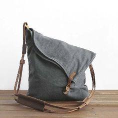 gray canvas messenger bag , vintage, canvas bag, shoulder bag , unisex , clutch bag ,ipad bag,travel bags on Etsy, $49.90