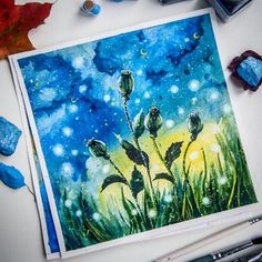 Watercolor nature star night flowers Star Night, Stars At Night, Night Flowers, Blue Art, Watercolor, Artwork, Nature, Pen And Wash, Blue Artwork