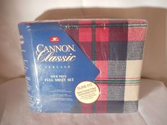 NEW VINTAGE CANNON CLASSICS PERCALE FOUR PIECE FULL SHEET SET 180 THREAD #Cannon