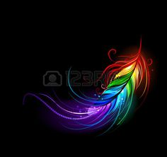 art�sticamente pintado pluma arco iris sobre un fondo negro photo