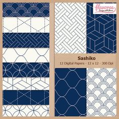 Digital Scrapbook Paper Pack  BLUE SASHIKO  Instant by Flavoree, $5.00