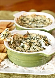 Spinach and Artichoke Dip with Greek Yogurt, Mozzarella, and Parmesan