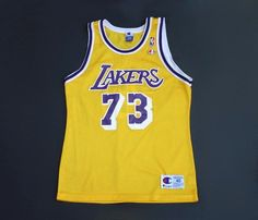ae7ed3ca648 Vintage Dennis Rodman  73 Los Angeles Lakers NBA jersey by Champion size 40  - Vintagesque
