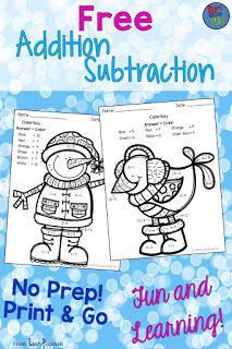 Free Addition and Subtraction Color by Answer