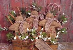 free images of christmas ornies to make   Primitive Christmas Gingerbread Boy Tuck Ornie Pattern   eBay