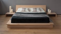 The Kyoto is a Japanese Bed with headboard - a low, modern platform bed in solid wood with a generous headboard panel. King Platform Bed Frame, Low Platform Bed, Solid Wood Platform Bed, Modern Platform Bed, Build A Headboard, Headboards For Beds, Low Height Bed, Tatami Futon, Japanese Style Bed