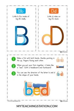 Solving B-D Letter Reversal Problems -- this will be another great visual for helping my young students who are confusing b and d. It also suggests using a different font to differentiate the letters which would be a great idea for when writing, too. Kindergarten Literacy, Preschool Learning, Literacy Activities, Dyslexia Activities, Dyslexia Strategies, Kindergarten Anchor Charts, Teaching Reading, Teaching Kids, Teaching Resources