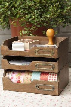 Washi Tape Organizer Desktop Organizer Masking by chickydoddle Tapas, Organizer Box, Kawaii Planner, Ribbon Storage, Desktop Organization, Organizing, Diy Gift Box, Kawaii Stationery, Craft Room Storage