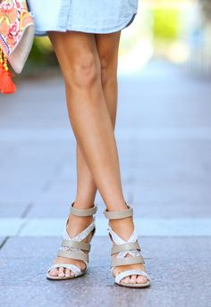 neutral strapy pumps with with subtle animal print