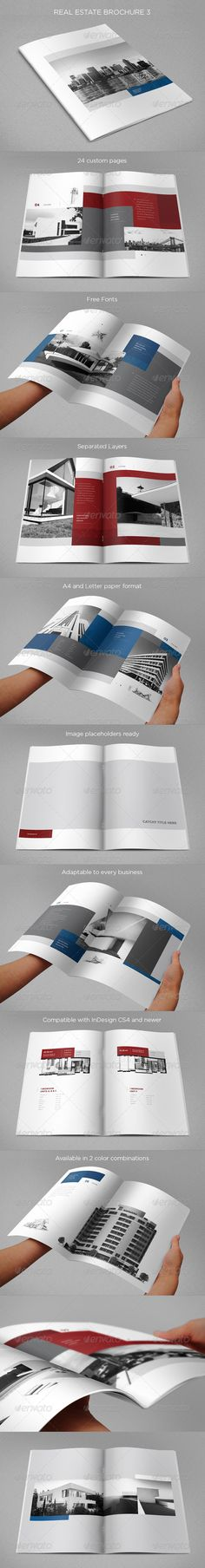 Real Estate Brochure 3 — InDesign INDD #blue #red • Available here → https://graphicriver.net/item/real-estate-brochure-3/8466289?ref=pxcr