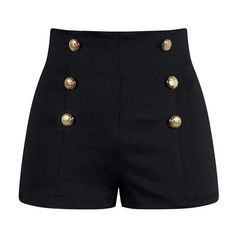 High Waisted Pin Up Shorts Black ❤ liked on Polyvore featuring shorts, high-rise shorts, pinup shorts, stretchy shorts, pin up shorts and stretch shorts