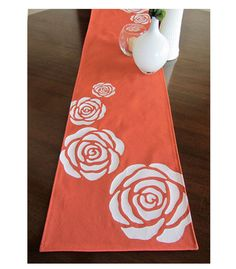 Radiant Roses Table runner in Burnt orange and white.  Great piece to update any table for Spring!