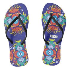 Crabs, fish and octopuses for a summer pattern flip flops | Zazzle.com Fly Fishing Gear, Fishing T Shirts, Fishing Tips, Chart Design, Pattern Design, Fathers Day Gifts Fishing, Ocean Monsters, Octopuses, Summer Design