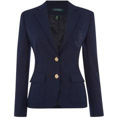 Lauren Ralph Lauren Kenosta Classic wool blazer ($445) ❤ liked on Polyvore featuring outerwear, jackets, blazers, coats, navy, women, wool blazer, lauren ralph lauren jacket, navy blue jacket and wool jacket