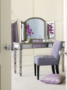 With the Retiring Blue walls, silver mirror bedroom set, I want to do lavender/lilac or dark teal accents.