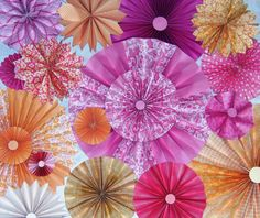10pc pink coral  Paper Pinwheel Rosette Party Decoration Set wedding , birthday party ,backdrop background on Etsy, $25.99