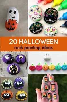 20 Halloween Painted Rocks. Rock painting for halloween. Rock Painting Supplies, Rock Painting Ideas Easy, Rock Painting Designs, Painting For Kids, Halloween Rocks, Halloween Crafts For Kids, Easy Halloween, Painted Rocks Craft, Painted Pumpkins