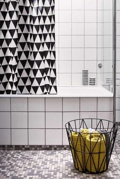 Ferm Living Black Triangle Shower Curtain...Love this one...need to find fabric of this pattern because I'm not spending 120 on a curtain!