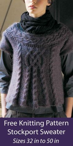 """Free Knitting Pattern Cabled Stockport Sweater Cap-sleeved pullover top or vest with Celtic braid cable on the front and cabled ballet neckline. Sizes to fit bust 32-34"""", 36-38"""", 40-42"""", 44-46"""", 48-50"""". Bulky weight yarn. Designed by Sarah Hatton Celtic Braid, Sweater Knitting Patterns, Pullover Sweaters, Short Sleeves, Tees, Fashion, Women, Moda, T Shirts"""