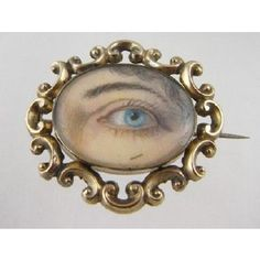 Antique Gold frames a miniature lover's eye ivory painting - Brooch Victorian Jewelry, Antique Jewelry, Vintage Jewelry, Lovers Eyes, Miniature Portraits, Mourning Jewelry, Eye Jewelry, Eye Art, Chain Pendants
