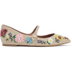 Tabitha Simmons Hermione Meadow floral-embroidered linen point-toe... (180.205 HUF) ❤ liked on Polyvore featuring shoes, flats, neutrals, flat pumps, mary jane flat shoes, mary jane flats, ankle wrap flats and floral print flats