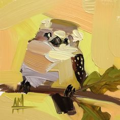 Kookaburra no. 5 Original Bird Oil Painting by Angela Moulton 6 x 6 inch on Panel pre-order by prattcreekart on Etsy