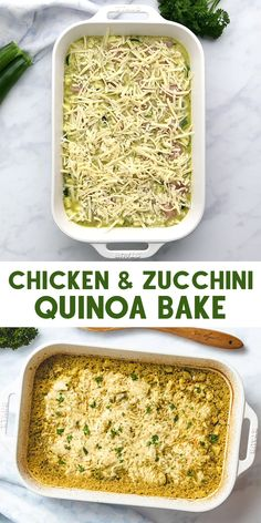 Chicken and Zucchini Quinoa Bake is an easy and healthy dinner. A delicious meal made with chicken breast, zucchini, quinoa, pesto and melty mozzarella. FOLLOW The Recipe Well for more great recipes! Zucchini Dinner Recipes, Quinoa Recipes Easy, Baked Dinner Recipes, Healthy Chicken Recipes, Vegetarian Recipes, Cooking Recipes, Recipes With Pesto, Breakfast Recipes, Healthy Meals For Kids