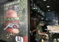 At Buns & Guns in Beirut, Lebanon, everything is military themed – from the décor and names of the menu items to the helicopter sounds that play constantly in the background.