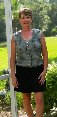 "Ruffles n Buttons - free crochet Sleeveless Top pattern by Penny Reed Antao. For Women's 38"" Bust, 34"" Waist, 38"" Hips."