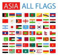 Flags of Asia - Full Vector Collection. Flags Of European Countries, Countries Of Asia, Countries And Flags, Flags With Names, All Flags, World Country Flags, Flags Of The World, Asian Flags, Different Flags