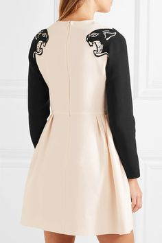 Valentino - Panther Beaded Wool And Silk-blend Crepe Mini Dress - Ivory