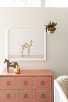 The Brick House: The Animal Print Shop Nursery Project. Amazing gray and coral nursery design with pale ...