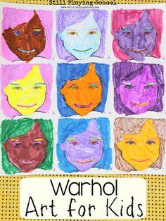 Trendy Andy Warhol Art For Kids Self Portraits Ideas art for kids Pop Art, Andy Warhol Art, Self Portrait Art, Artist Project, Sunflower Art, Preschool Art, Art Plastique, Art Activities, Teaching Art