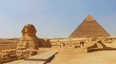 The Sphinx with The Pyramid of Chephren Khafre