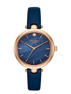 Women's Watch: A signature spade marks 12 o'clock on the mother-of-pearl dial of a minimalist watch set on a slim, lightly textured leather band. Style Name:Kate Spade New York 'Holland' Round Leather Strap Watch, Style Number: Available in stores. Nordstrom, Kate Spade New York, Kate Spade Watch, Affordable Watches, Beautiful Watches, Cool Watches, Cheap Watches, Women's Watches, Trendy Watches