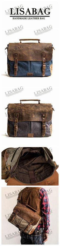 Handmade Dark Blue Waxed Canvas Leather Briefcase Messenger Bag 13'' Laptop Bag 1807