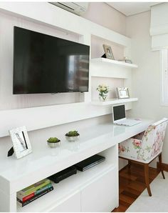 Home Office Quarto Parede Best Ideas Bedroom Desk, Home Bedroom, Girls Bedroom, Bedrooms, Home Office Design, Home Office Decor, Room Interior, Interior Design Living Room, Small Home Offices