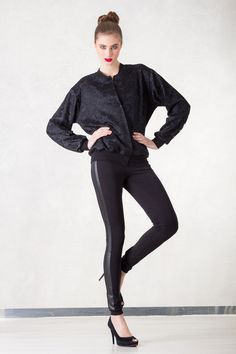 https://www.cityblis.com/6462/item/17001  Bomber Jacket Lace - $178 by Hedoco  A bomber jacket decorated with black lace is a unique combination of sporty cut with evening chic. It makes a perfect oficial outfit and provides comfort of wearing at hte same time.  material: cotton   total length 63 cm, width 56 cm, sleeve 60 cm